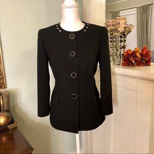 Evan Picone Black Fitted Suit Blazer Jacket